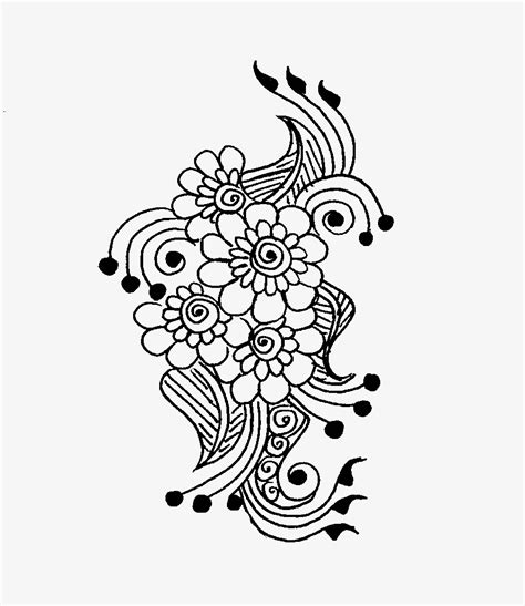 simple henna design drawing floral and paisley motif