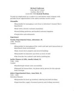 Resume Template For Cashier by Sle Cashier Resume 7 Exles In Word Pdf