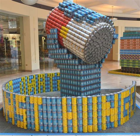 canned food sculpture ideas canstruction students design and build colossal structures out of cans for local foodbank