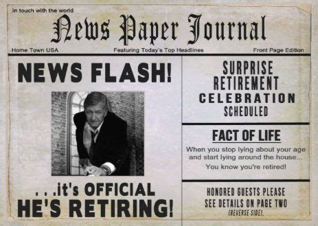 newspaper front page birthday card template newspaper themed retirement party invitations