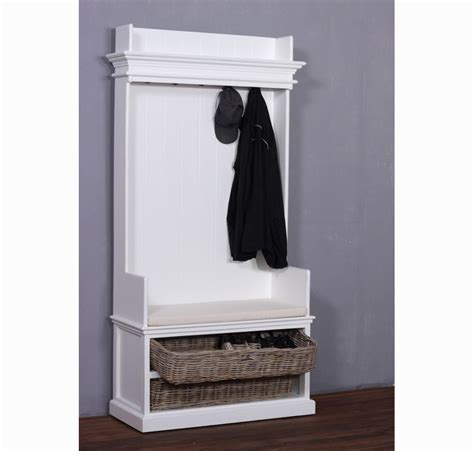 Entry Coat Bench Armoire Penderie Ouverte Bois Blanc Collection Leirfjord