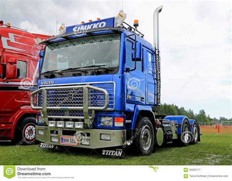blue volvo truck tractor   riverside truck meeting  editorial photo image