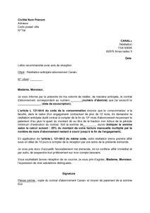 Resiliation Lettre Canal Plus lettre de r 233 siliation anticip 233 e de l abonnement canal de plus de 12 mois mod 232 le de lettre