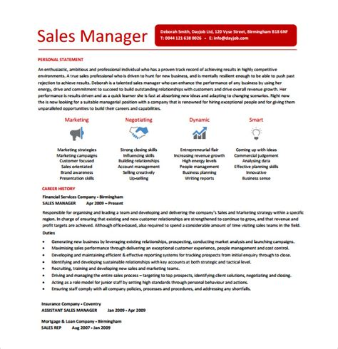 Sales Manager Resume Template by 10 Sle Sales Resume Templates To Sle