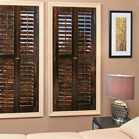 wooden shutters interior home depot homebasics plantation walnut real wood interior shutters