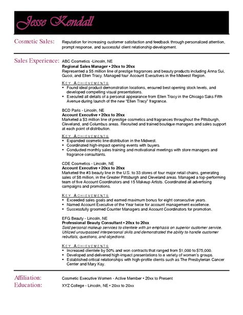 fashion sales account executive resume