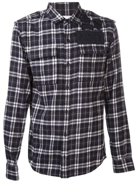 Kemeja Flannel Tartan Gradation Black 1 ar srpls plaid flannel shirt in black for lyst