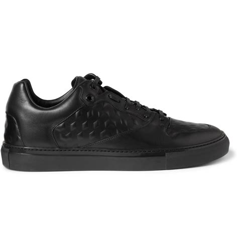 black sneakers for balenciaga debossed leather sneakers in black for lyst