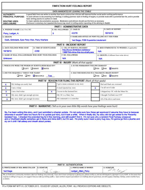 hurt feelings report template not really official fimfiction butthurt form released