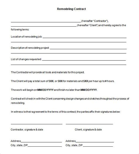 remodeling contract template sle contractor agreements 9 independent contractor