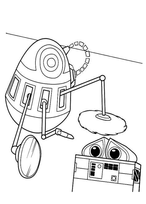 Coloring page - Robot and WALL-E