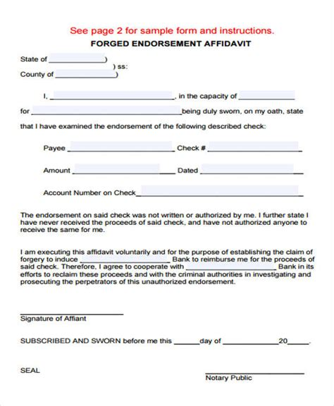endorsement agreement template 40 brilliant affidavit form sles twihot