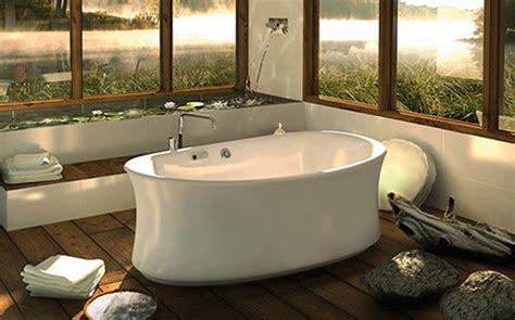 zen bathtub minimalist rustic bathroom design