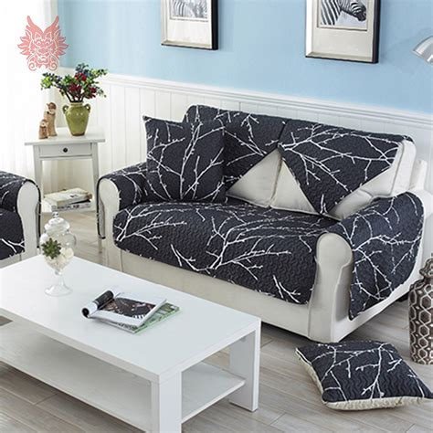 Modern Sofa Cover Modern Style White Black Printed Sofa Cover Quilting Slipcovers Cotton Furniture Sectional