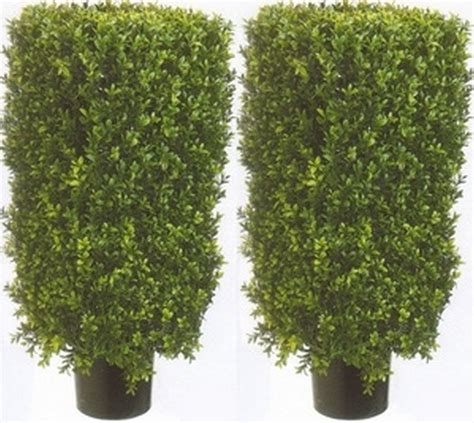 2 artificial 30 quot boxwood rectangle topiary bush tree in