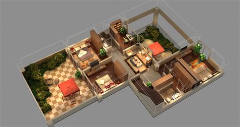 Floor Plan For Living Room isometric house 3d model max cgtrader com