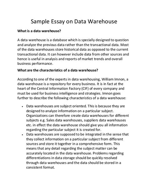 Intellectual Intelligence Essay by Sle Essay On Data Warehouse