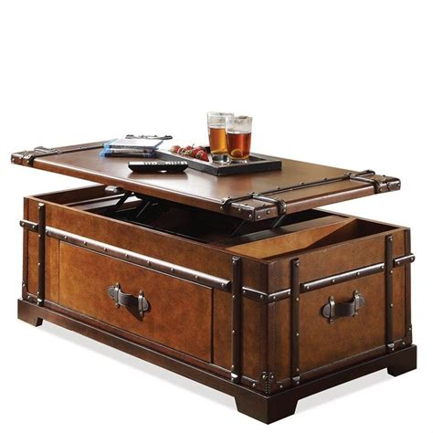 Riverside Furniture Latitudes Steamer Trunk Lift Top Trunk Coffee Table