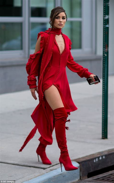 Daily Mail Boots Detox by Culpo Steps Out In New York In Scarlet Ensemble