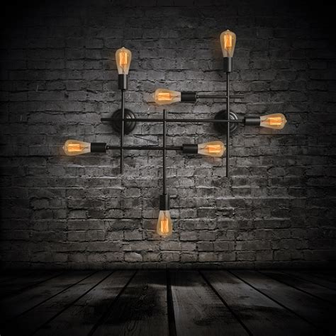industrial wall sconce 7 light unique black wrought iron industrial wall sconces