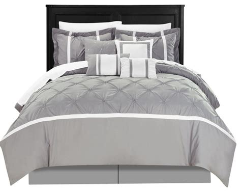 Grey Bed In A Bag by Vermont Grey King 12 Comforter Bed In A Bag Set With