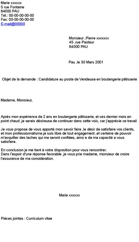 Lettre De Motivation Vendeuse De Boulangerie candidature au poste de vendeuse en boulangerie p 226 tisserie