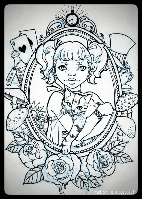 tattoo alice in wonderland light by mad smile on