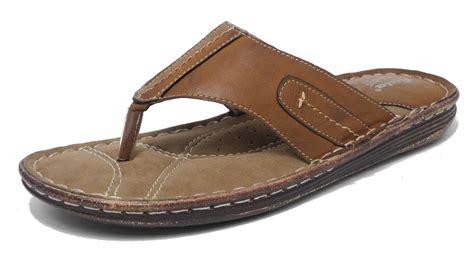 Bata Sandal mens bata leather look cushioned comfort toe post sandals flip flops brown 8
