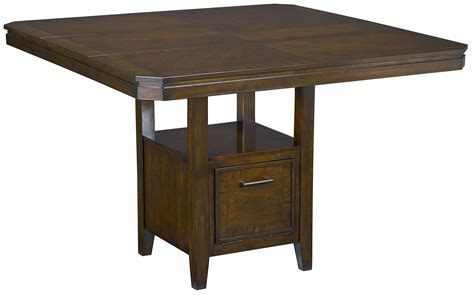 counter height table with pedestal base and single drawer
