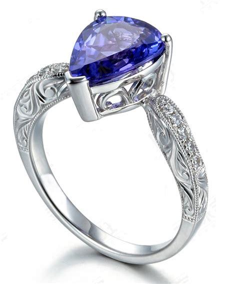 unique 2 carat pear shape blue sapphire and