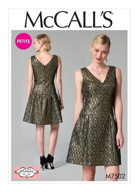 pattern review drop waist dress mccall s 7502 misses miss petite drop waist v neck dress