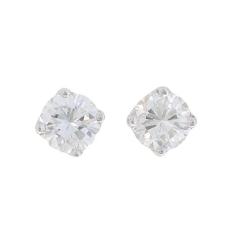 puces d oreilles diamants 2 carats en or blanc