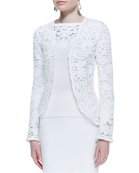 Lace Bomber Jacket Colour By Mothercare lyst oscar de la renta embroidered cotton lace jacket in