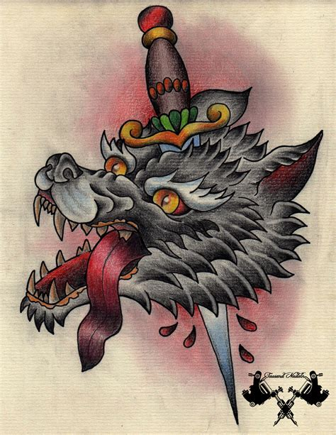 tattoo flash wolf tattoo flash wolf and dagger by tausend nadeln on deviantart