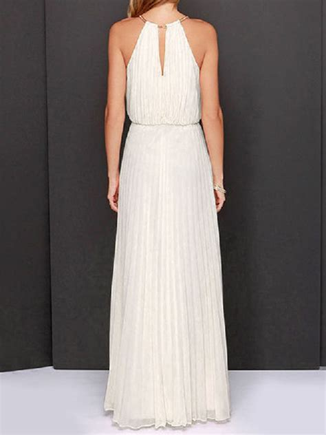 Sleeveless Halter Pleated Dress the most classic white halter cut out sleeveless pleated