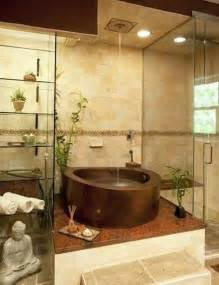 Fancy interior zen bathrooms with tempered glass rack for