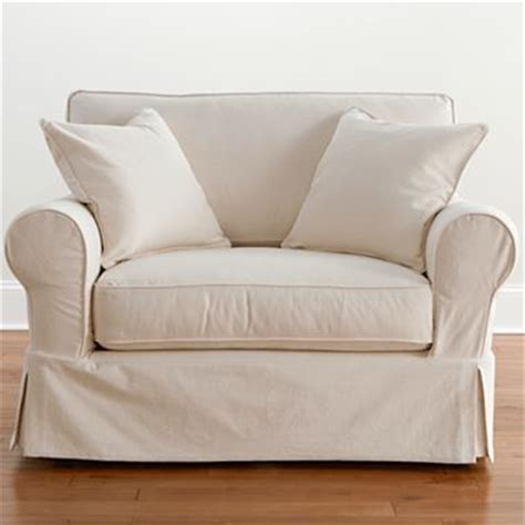 Friday Twill Slipcovered Chair And A Half Khaki Friday Sofa Slipcovers