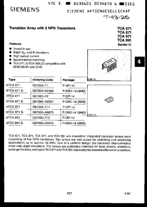 Transistor Npn D1275 tca871 395361 pdf datasheet ic on line
