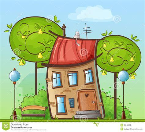 la casa fumetto disegno divertente fumetto casa nel cortile con gli