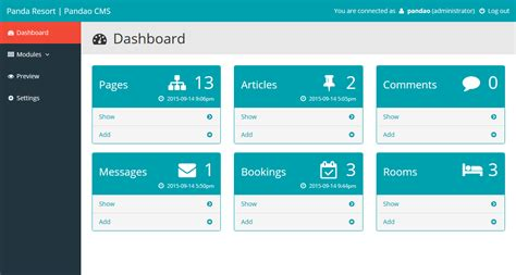 Panda Resort 4 Cms For Single Hotel Booking System By Pandao Codecanyon Cms Dashboard Templates