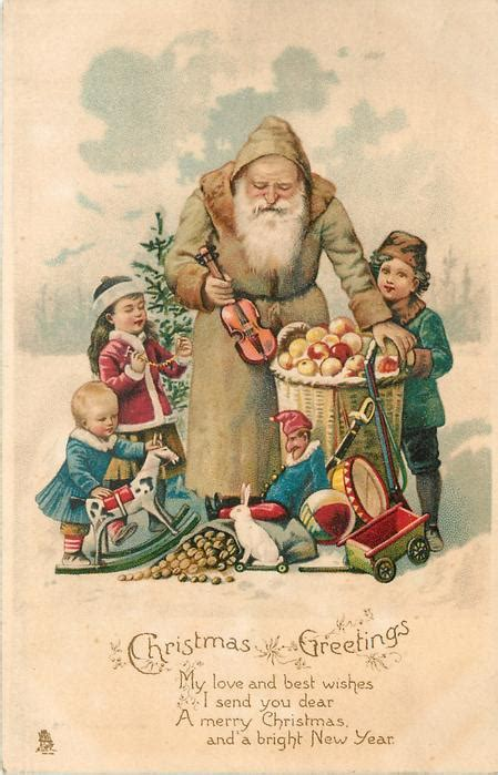 christmas  olive coated santa holding small violin   toys  children