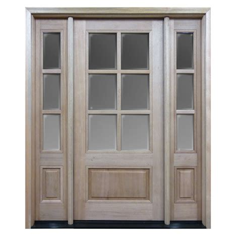Pre Hung Exterior Door Htc30 Pre Hung 6 Lite Mahogany Exterior Door With 2 Sidelites Home Surplus
