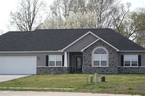 white stone house gray stone white trim black shutters google search new