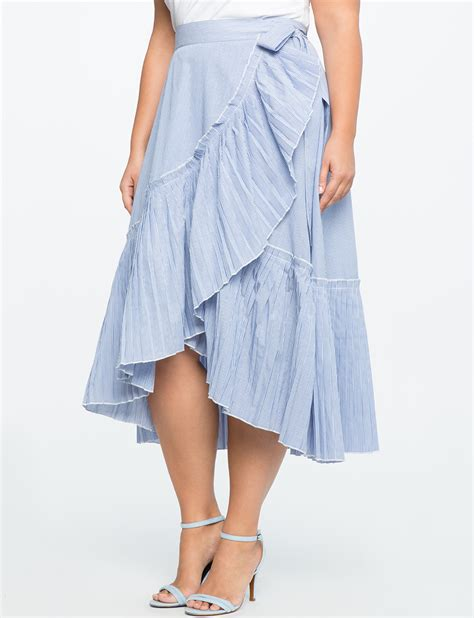Ruffled Skirt pinstripe ruffle wrap skirt s plus size skirts