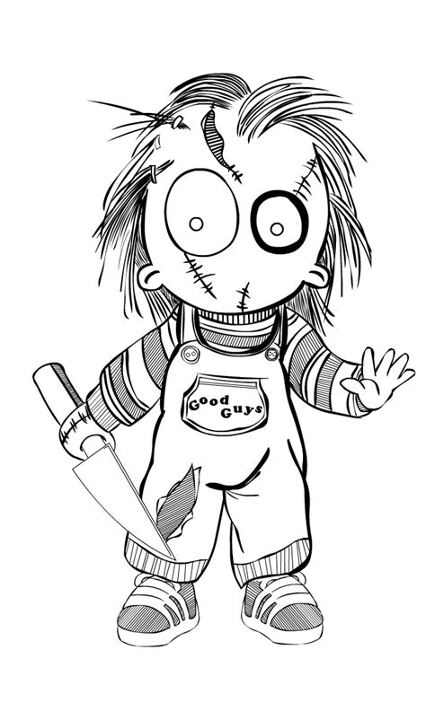 Chucky Outlines Mrdezign By Mrdezign On Deviantart Chucky Doll Coloring Pages