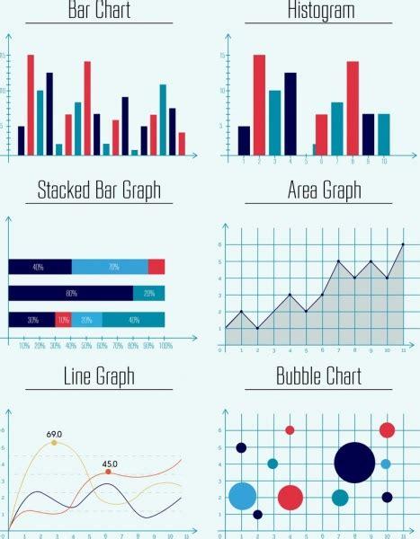 Graph Templates Collection Bar Area Line Bubble Design Free Vector In Adobe Illustrator Ai Ai Adobe Illustrator Org Chart Template