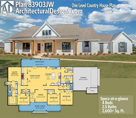 House Plans And by Plan 83903jw One Level Country House Plan Architectural