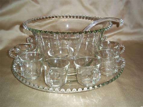 Amethyst Glass Vase Vintage Imperial Glass Candlewick Punch Bowl Set