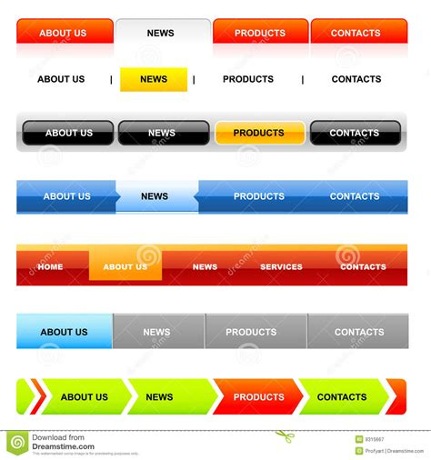 Website Navigation Templates Variant On White Stock Vector Illustration Of Computer Navigation Bar Templates