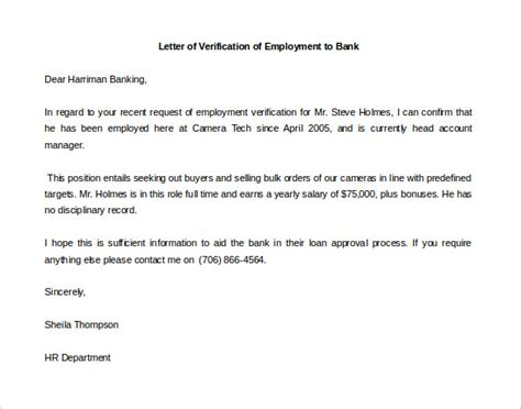 Employment Letter Template For Mortgage letter of employment verification template